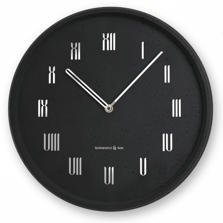 Concrete black wall clock - front view
